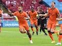 Netherlands' Memphis Depay celebrates scoring against Austria at Euro 2020 on June 17, 2021