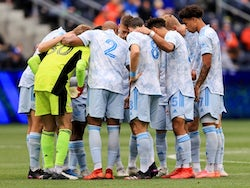 The New England Revolution huddle prior to the start of the game on May 29, 2021