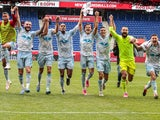 New York Red Bulls teammates celebrates after the game against the Orlando City SC on May 29, 2021