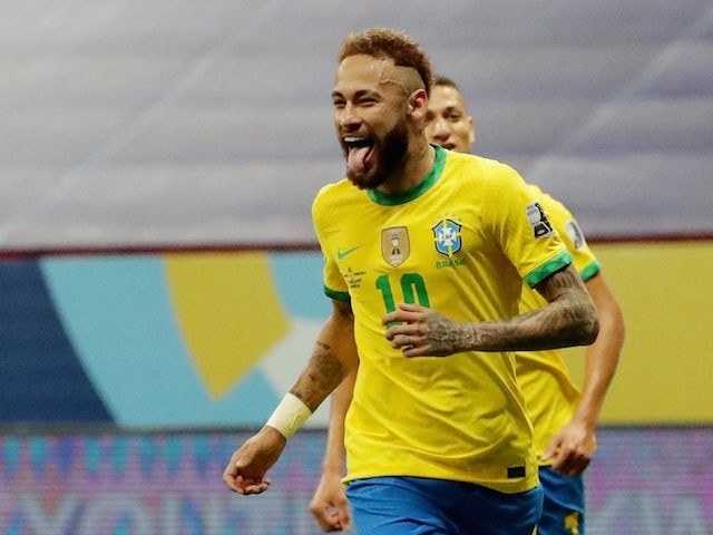 Brazil's Neymar celebrates scoring on June 13, 2021