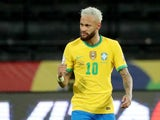 Neymar celebrates scoring for Brazil on June 17, 2021