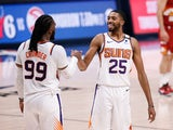 Phoenix Suns forward Mikal Bridges celebrates with forward Jae Crowder after the game against the Denver Nuggets on June 14, 2021