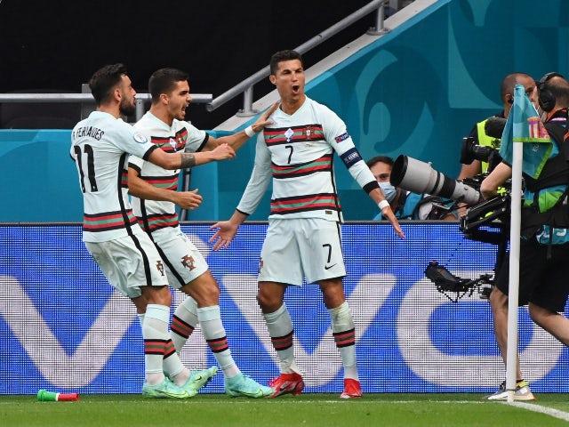 Cristiano Ronaldo feiert Portugals Tor gegen Ungarn bei der Euro 2020 am 15. Juni 2021