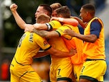 Hartlepool United's Ryan Donaldson celebrates with teammates after the match on June 13, 2021