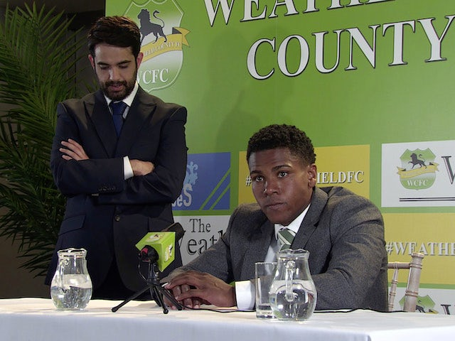 James and the Weatherfield County press officer on the first episode of Coronation Street on June 30, 2021