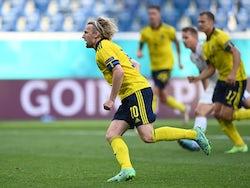 Sweden's Emil Forsberg celebrates scoring their first goal against Slovakia at Euro 2020 on June 18, 2021