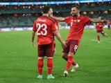 Switzerland's Xherdan Shaqiri celebrates scoring their third goal against Turkey at Euro 2020 on June 20, 2021