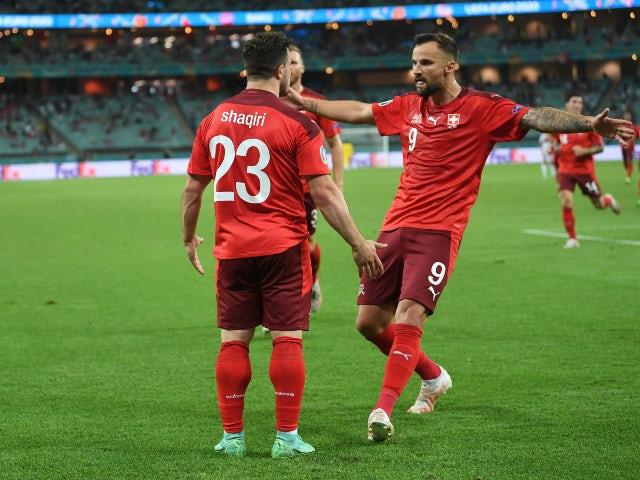 Le Suisse Xherdan Shaqiri a célébré son troisième but contre la Turquie à l'Euro 2020 le 20 juin 2021