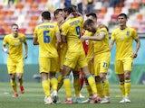 Ukraine's Roman Yaremchuk celebrates scoring against North Macedonia at Euro 2020 on June 17, 2021