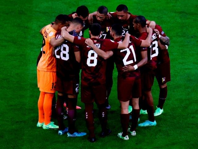 Venezuela team huddle before the match on June 13, 2021