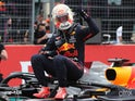 Max Verstappen celebrates winning the French Grand Prix on June 20, 2021