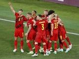 Belgium's Thorgan Hazard celebrates scoring against Portugal at Euro 2020 on June 27, 2021