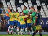 Brazil's Casemiro celebrates scoring against Colombia at the Copa America on June 23, 2021