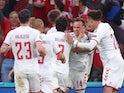 Denmark's Mikkel Damsgaard celebrates scoring their first goal against Russia at Euro 2020 on June 21, 2021