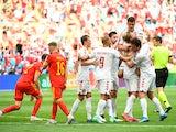 Denmark's Kasper Dolberg celebrates scoring against Wales at Euro 2020 on June 26, 2021
