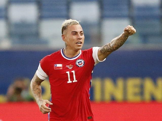 Chile's Eduardo Vargas celebrates scoring their first goal on June 21, 2021