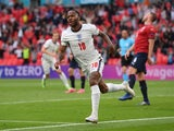 Raheem Sterling celebrates scoring for England against the Czech Republic at Euro 2020 on June 22, 2021