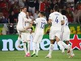 Karim Benzema celebrates scoring for France against Portugal at Euro 2020 on June 23, 2021