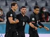 Leon Goretzka celebrates scoring for Germany against Hungary at Euro 2020 on June 23, 2021