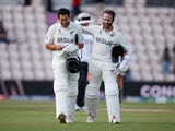 New Zealand's Kane Williamson and Ross Taylor celebrate after winning the ICC World Test Championship Final against India on June 23, 2021