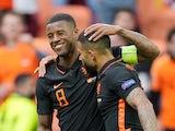 Netherlands' Georginio Wijnaldum celebrates scoring their second goal against North Macedonia at Euro 2020 on June 21, 2021