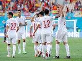 Aymeric Laporte celebrates scoring for Spain against Slovakia at Euro 2020 on June 23, 2021