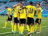 Sweden's Emil Forsberg celebrates scoring their second goal against Poland at Euro 2020 on June 23, 2021