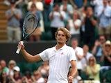 Alexander Zverev celebrates at Wimbledon on July 3, 2021