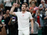 Andy Murray celebrates at Wimbledon on June 28, 2021