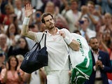 Andy Murray waves to the crowd after being knocked out of Wimbledon on July 2, 2021