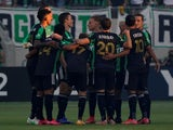 Austin FC huddles before the first game on June 20, 2021