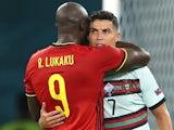 Belgium's Romelu Lukaku consoles Portugal's Cristiano Ronaldo on June 27, 2021