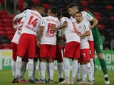 Red Bull Bragantino team huddle before the match on June 20, 2021