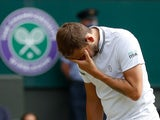 Dan Evans pictured at Wimbledon on July 2, 2021