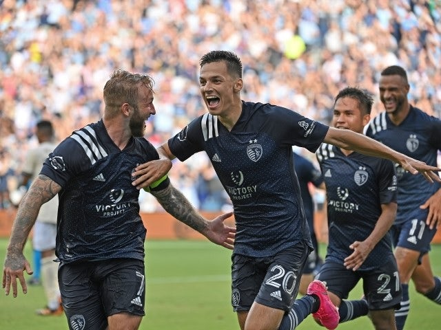 Sporting Kansas City forward Daniel Salloi celebrates after scoring a goal on June 26, 2021