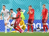 Switzerland's Denis Zakaria reacts after he scores an own goal and the first for Spain on July 2, 2021
