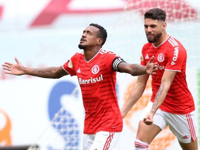 Internacional's Edenilson celebrates scoring their first goal on June 20, 2021