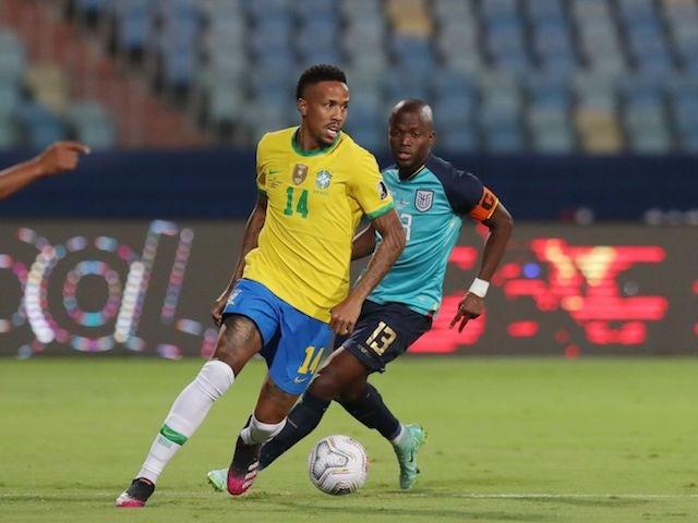 Brazil's Eder Militao in action with Ecuador's Enner Valencia on June 27, 2021
