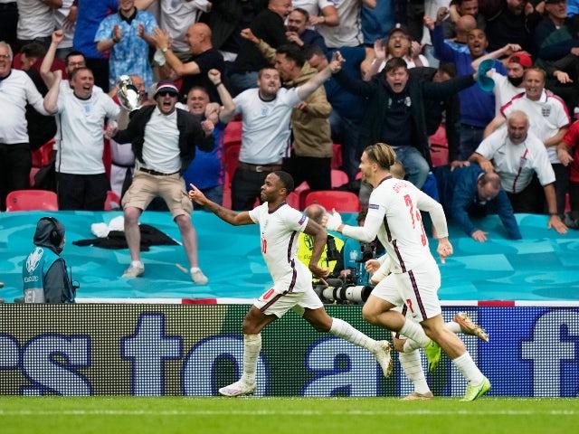 Raheem Sterling celebrates scoring for England against Germany at Euro 2020 on June 29, 2021