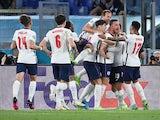 Jordan Henderson celebrates scoring for England against Ukraine at Euro 2020 on July 3, 2021