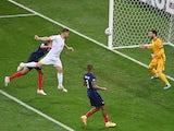 Switzerland's Haris Seferovic scores against France at Euro 2020 on June 28, 2021
