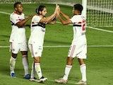 Sao Paulo's Gabriel Sara celebrates scoring their second goal with Martin Benitez on June 23, 2021