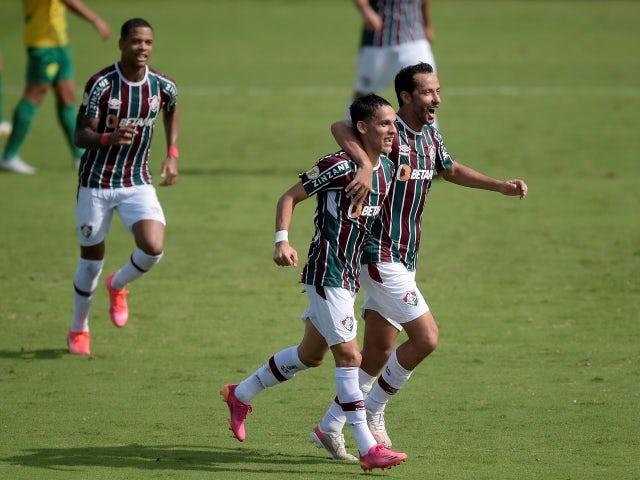 Fluminense's Gabriel Teixeira celebrates scoring their first goal with Nene on June 6, 2021
