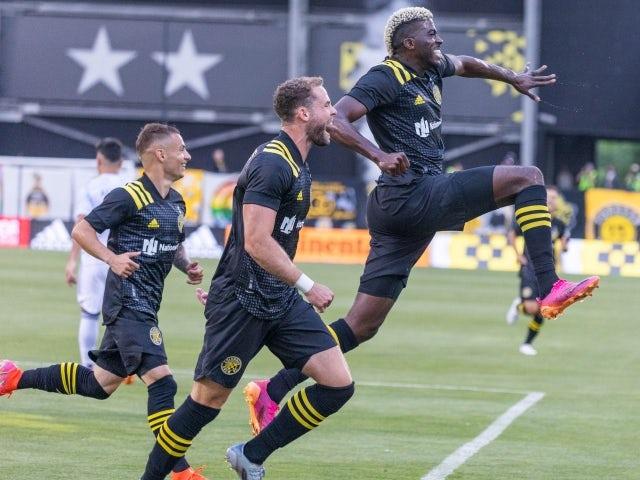 Columbus Crew forward Gyasi Zerdes celebrates his goal with teammates on June 20, 2021