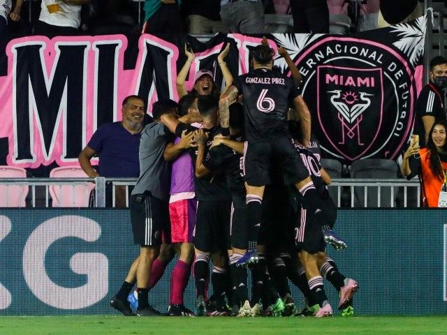 Inter Miami CF teammates celebrate on June 26, 2021