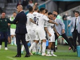 Italy's Lorenzo Insigne celebrates scoring their second goal against Belgium at Euro 2020 on July 2, 2021