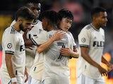 Los Angeles FC defender Kim Moon-Hwan celebrates scoring a goal on June 24, 2021