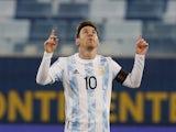 Argentina's Lionel Messi celebrates scoring their second goal on June 28, 2021