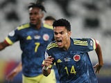 Colombia's Luis Diaz celebrates scoring their first goal on June 24, 2021