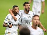 Santos' Marinho celebrates scoring their second goal with teammates on June 25, 2021